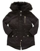 F&F Shower Resistant Faux Fur Trim Parka, Girl's