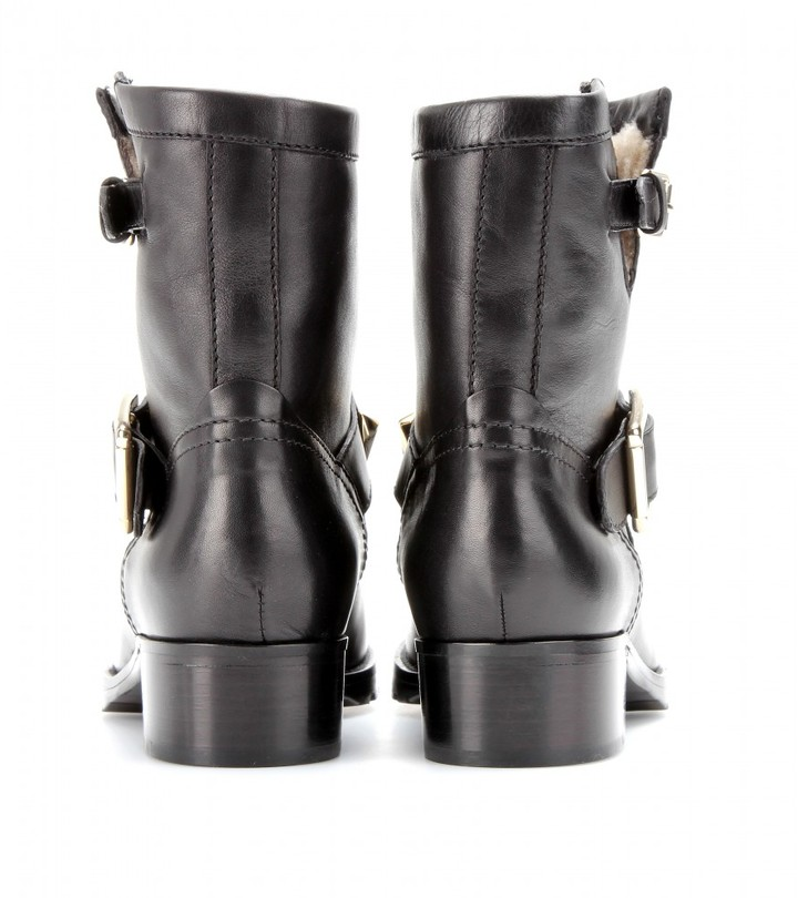 Valentino LOCK SHEARLING-LINED LEATHER BOOTS