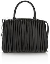 Alexander Wang Attica Flap Large Marion In Black Fringe With Rhodium