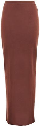 Rick Owens Ruched Silk-blend Maxi Skirt