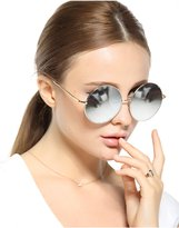 Qilan 2016 Sexy Retro Oversized Large Round Sunglasses For Women Rainbow Mirrored
