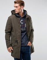 Jack and Jones Vintage Fishtail Parka with Quilted Lining and Removable Wire Frame Hood
