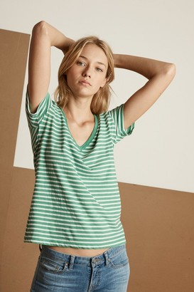 Velvet by Graham & Spencer Madalyn Stripe Jersey V-Neck Tee