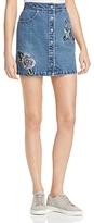 Honey Punch Embroidered Denim Skirt