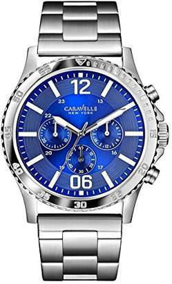 Caravelle New York Carvelle New York Men's Quartz Watch with Blue Dial Chronograph Display and Silver Stainless Steel Bracelet 43A116