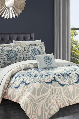 Queen Almira Reversible Boho Inspired Large Scale Medallion Print Design Comforter 8-Piece Set - Blue