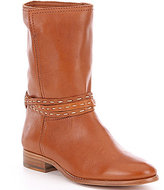 Frye Cara Pickstitch Ankle Cuff Leather Pull-On Mid Boots