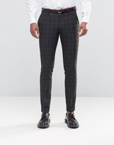 Selected Skinny Checked Pants with Stretch and Turn Up