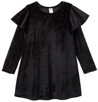 Harper Canyon Flutter Sleeve Sparkle Dress (Little Girls)
