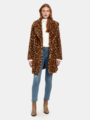 Faux Fur Collar Leopard Coat