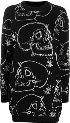 Philipp Plein Embellished-Skull Knitted Dress