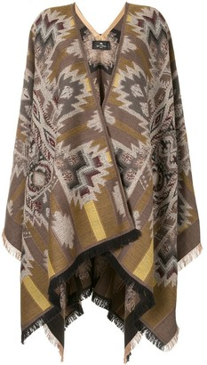 Etro Geometric Wool-Knit Cape