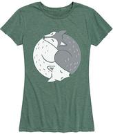 Yin & Yang Instant Message Women's Women's Tee Shirts HEATHER - Heather Juniper Yin Yang Foxes Relaxed-Fit Tee - Women