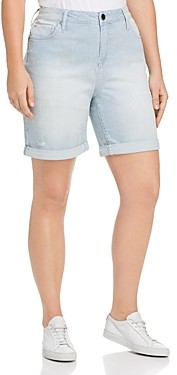 Seven7 Weekend Bermuda Striped Denim Shorts in Magnetic
