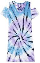Flowers by Zoe Girls' Cold-Shoulder Tie-Dye Shirt Dress - Little Kid