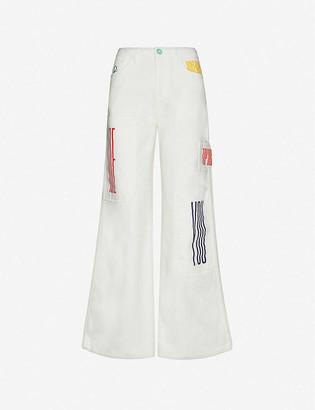 Benetton Logo-printed wide-leg cotton trousers