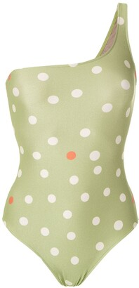 Adriana Degreas One Shoulder Polka Dot Swimsuit