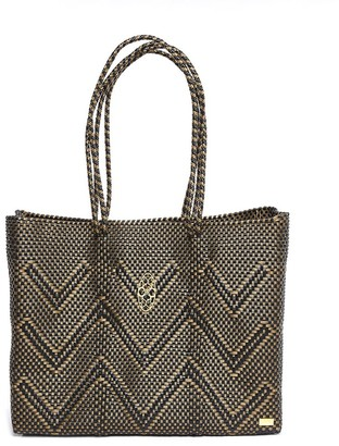 Lolas Bag Black Chevron Travel Tote Bag With Clutch