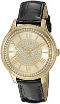 GUESS Women's U0840L1 Dressy Gold-Tone Watch with Gold Dial , Crystal-Accented Bezel and Genuine Leather Strap Buckle