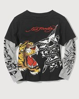 Boys' Double Layer two-fer Tiger Long Sleeve Tee Shirt