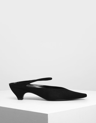 Charles & Keith V-Cut Ankle Strap Kitten Heel Mules