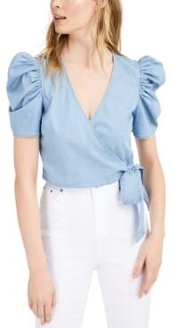Bar III Chambray Puffed-Sleeve Wrap Top, Created for Macy's