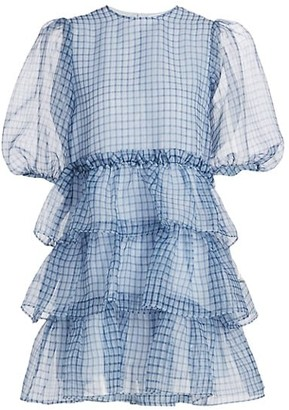 Ganni Puff-Sleeve Plaid Organza Dress