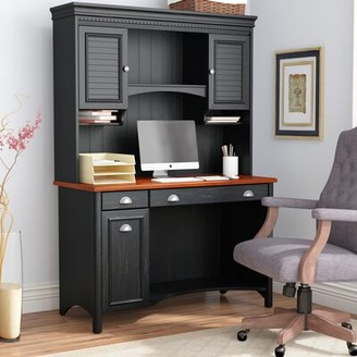 Three Posts Resaca Desk with Hutch Color (Frame): Antique Black