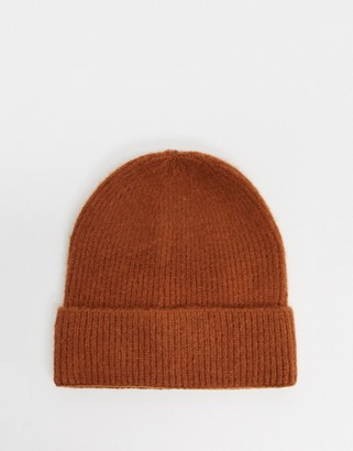 My Accessories London ribbed brushed beanie hat in burned orange