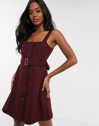 Y.A.S skater dress with buckle waist in burgundy