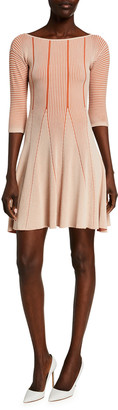 Emporio Armani Tubular Knit Full Skirt Short Dress