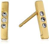 Gorjana Taner Bar Shimmer Mini White Cubic Zirconia/Gold Stud Earrings