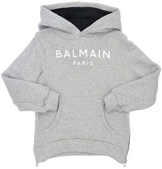 Balmain Logo Cotton Blend Sweatshirt Hoodie