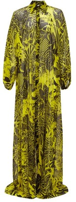Halpern Floral-print Satin Maxi Dress - Yellow Print