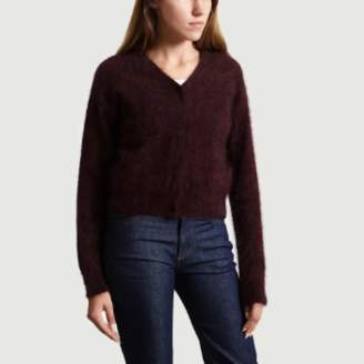Bellerose Burgundy Angora Long Sleeves Datam Vest - 0 | Angora wool | burgundy - Burgundy