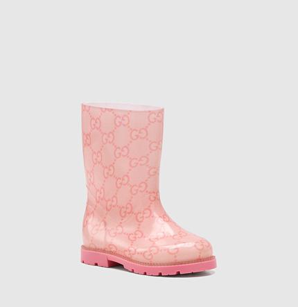 Gucci toddler pink GG rubber rain boot
