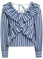 MSGM Ruffle-trimmed Striped Cotton-blend Blouse