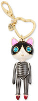Betsey Johnson Gold-Tone Striped Cat Key Chain