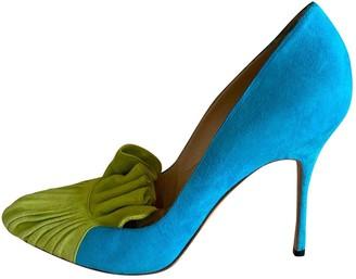 Manolo Blahnik Turquoise Suede Heels