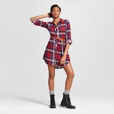 Women's Plaid Roll Sleeve Belted Shirt Dress - Almost Famous (Juniors')
