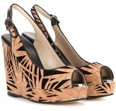 Jimmy Choo Prova Cork And Suede Wedge Sandals