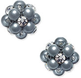 Charter Club Silver-Tone Imitation Pearl and Crystal Cluster Stud Earrings, Created for Macy's