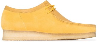 Clarks yellow suede Wallabee lace-up shoes