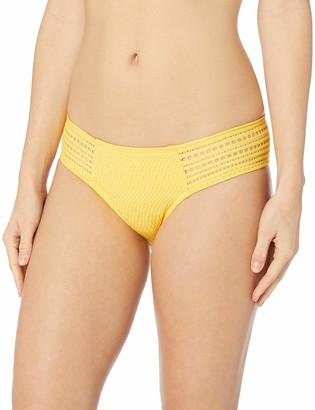 Robin Piccone Women's Perla Side tab Bikini Bottom with Crochet Inset