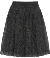 Brunello Cucinelli Pleated Embroidered Organza Midi Skirt
