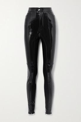 David Koma Paneled Patent-leather And Crepe Leggings - Black