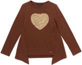 E-Land Kids Brown Heart Sidetail Top - Toddler & Girls