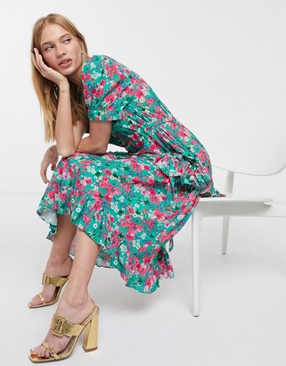 Lost Ink midi dress with drawstring detail and frill skirt in bright floral