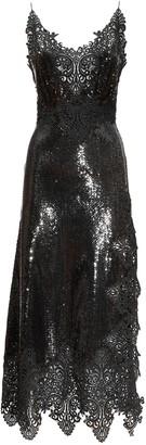 Paco Rabanne Stretch Sequins & Lace Midi Dress