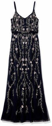 Adrianna Papell Women's Floral Beaded Long Blousson Gown Petite